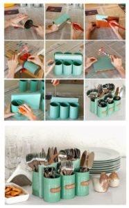 DIY 6 - Porta-talheres com latas de conserva